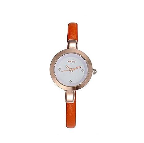 Amazon.com: Kezzi Womens Leather Quartz Watch Orange: Watches