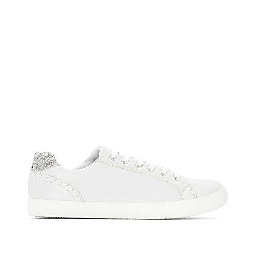 La Redoute Castaluna Frau Sneakers fur Breite Fusse, Metallikoptik Hinten, 3845 Weiß