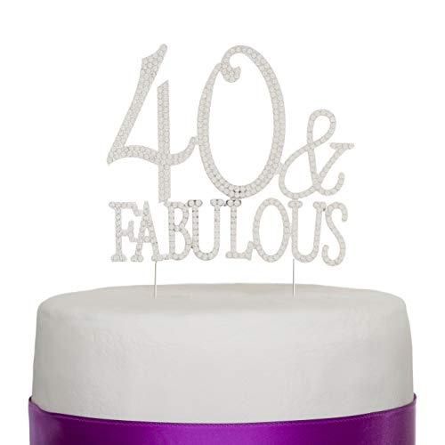 Ella Celebration 40 & Fabulous Cake Topper for 40th Birthday Silver Party Supplies Decorations (40 & Fabulous Silver)