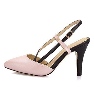 LvYuan Mujer-Tacón Cono-Talón Descubierto Zapatos del club-Sandalias-Boda Vestido Fiesta y Noche-Semicuero-Rosa Blanco White