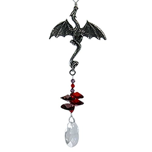 Dragon Deluxe Beaded Pewter - Rainbow Maker - Crystal Suncatcher - Home, Living Room, Bedroom, Kitchen, Car Decoration - Porch Decor - Sun Catcher - Hangings Crystal Glass Ornament