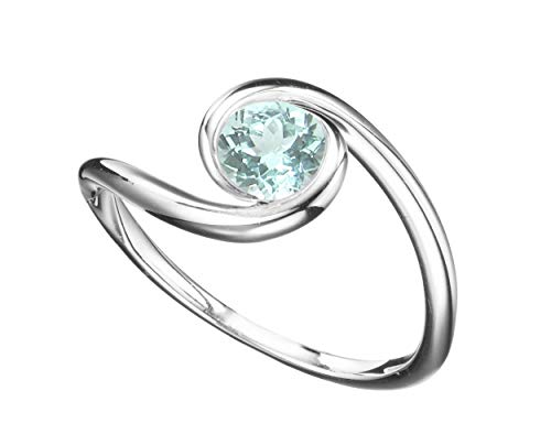 Minimalist Paraiba Tourmaline engagement ring by Majade. Solitaire Paraiba Tourmaline wedding ring, alternative non diamond ring, Handmade 14k white gold ring. Unique bezel set simple curved ()