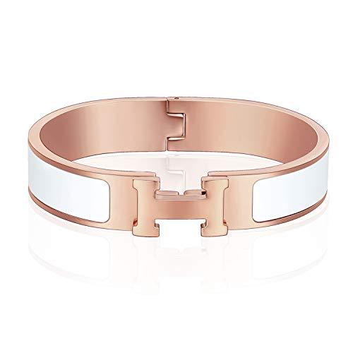 12MM H Buckle Bangle Bracelets for Women Rose Gold White