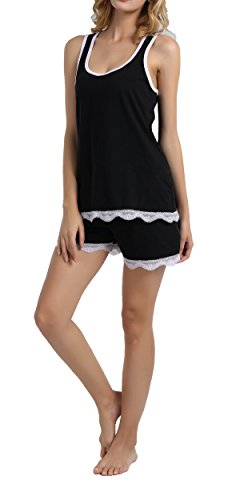 Chamllymers Women Sexy Sleeveless Pajama Set Racerback Vest Stretch Shorts Black M
