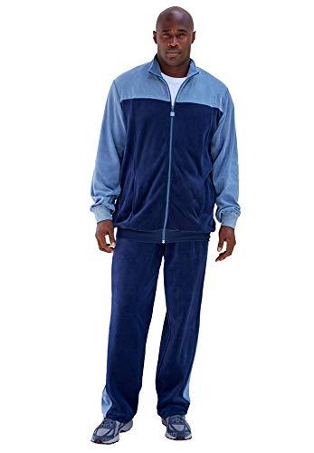 KingSize Men's Big & Tall Colorblock Velour Tracksuit, Navy Slate Blue Tall-XL