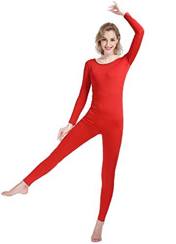 Shinningstar Girls Womens Well-fit Spandex Lycra Bodysuit Long Sleeve Scoop Neckline Footless Unitard (M, red)