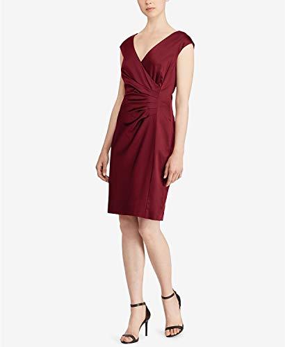 Lauren Ralph Lauren Satin Surplice Dress Ruby Red 2