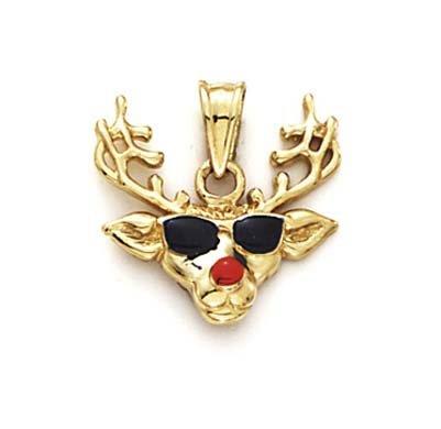Émail 14 Carats Pendentif Lunettes-JewelryWeb renne