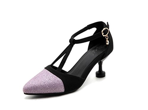 Shoes Patent Party Heel Quality Shoes Good Leather Heel Wedding Fashion Ladies MNII Purple Mid Court Women Pumps qOg0wOS