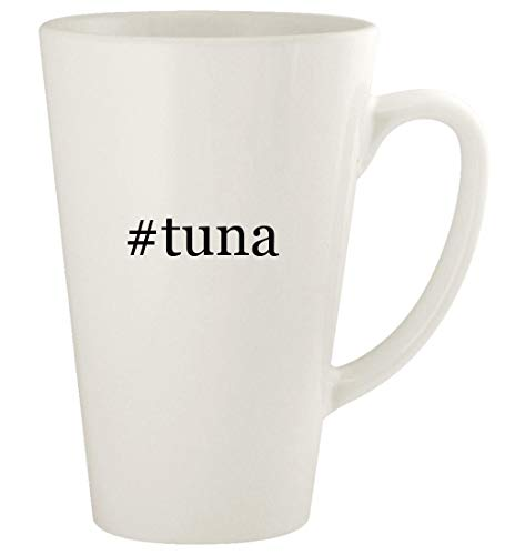 #tuna - 17oz Hashtag Ceramic Latte Coffee Mug Cup, White