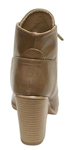 Anna Diane-11 Womens almond toe lace up high top chunky heel PU booties Taupe pwQRqkk