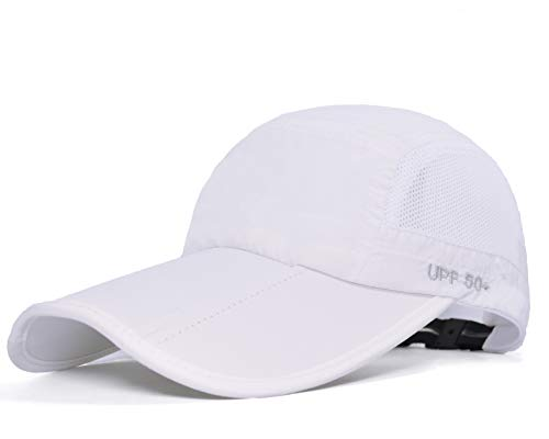 Baseball Cap Quick Dry Travel Hats UPF50+ Cooling Portable Sun Hats for Sports Golf Running Fishing Outdoor Research with Foldable Long Large Bill, E-white, M-L-XL