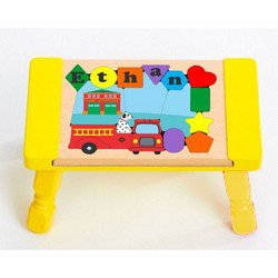 babykidsbargains Personalized Firetruck Puzzle Stool - Color: Yellow