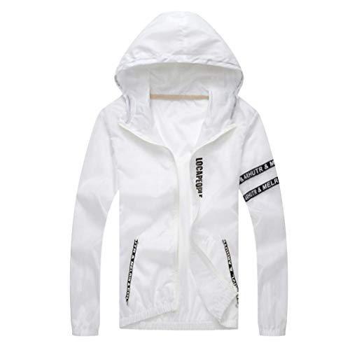 WUAI Clearance Deals,Mens Athletic Hooded Jacket Quick Dry Outdoor Sports Running Lightweight Hoodie Sweatshirt(White,US Size S = Tag M)