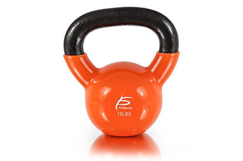 ProSource Vinyl Coated Cast Iron Kettlebells, Pink 5 lbs, Small/5 lb