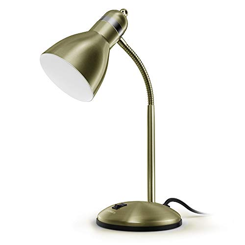 LEPOWER Metal Desk Lamp, Adjustable Goose Neck Table Lamp, Eye-Caring Study Desk Lamps for Bedroom, Study Room and Office (Bronze)