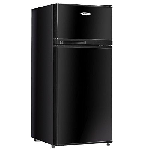 Costway 3.4 cu. ft. 2 Door Compact Mini Refrigerator Freezer Cooler (Black)
