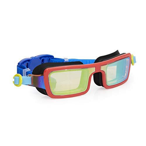 Bling 2O Kids Swimming Goggles - Red Retro 80s Style Swim Goggles for Boys and Girls - Anti Fog, No Leak, Non Slip, UV Protection with Hard Travel Case - 8+