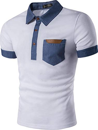 Sportides Mens Casual Denim Stitching Pocket Polo Shirt Short Sleeve T-Shirt Tops JZA008 White S