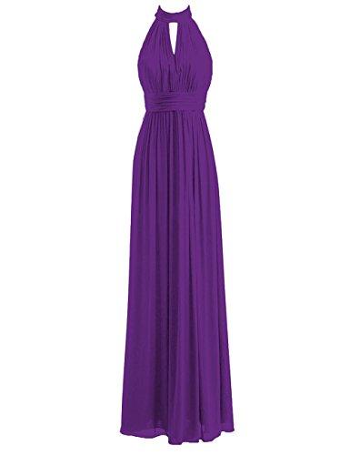 (Bridesmaid Dresses Long Prom Dress Chiffon Halter Evening Gowns Pleat Wedding Party Dress Royal Purple L)