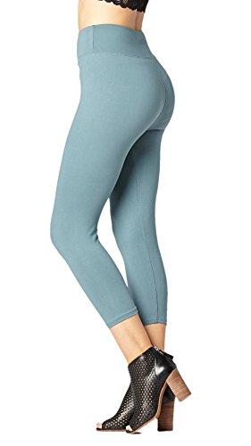 Premium Ultra Soft High Waist Leggings for Women - SL3 Capri Sea Blue - Small/Medium