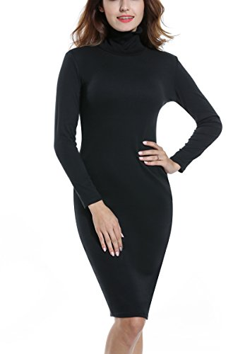 ACEVOG Women's Turtleneck Ribbed Long Sleeve Knit Sweater Dresses (Medium, Black)