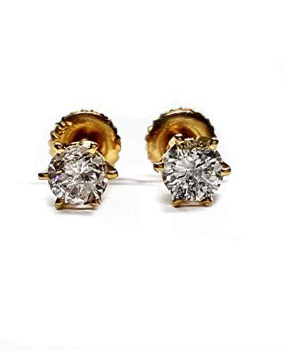 Diamond Stud Earrings 2=70pts set in 6 prong settings w/screwbacks. 14kt gold