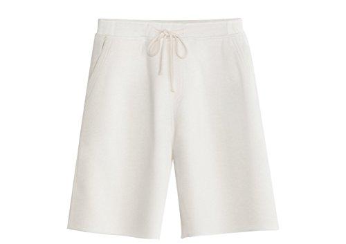- KEYBUR Men's Casual Classic Fit Cotton Elastic Jogger Gym Shorts (L, White)