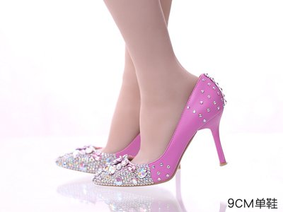 Heeled One 9Cm Word Pointed High Wrist Female Heel Prom Photo Wedding VIVIOO Sandals 7 5 Hair Hollow Sandals Fine Band Pink Rhinestone OX7nqH