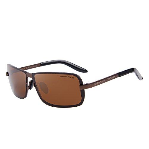 MERRY'S Men Sunglasses HD Polarized Sun glasses Luxury Shades UV400 S8722 (Brown&Brown, - Sunglasses Nine Five