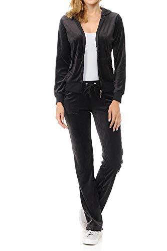Lightweight Hoodie & Sweatpants Velour Suit 2 Piece Loungewear Set ()