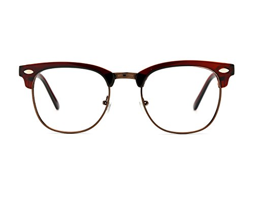 TIJN Men's Classic Inspired Half Frame Nerd Horn Rimmed Clear Lens Glasses (Brown, Transparent) by TIJN
