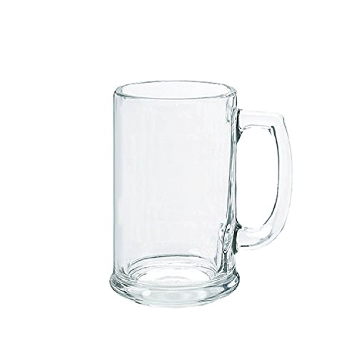 Thirsty Rhino Blitzen, German Style Beer Mug Stein, Thick Glass With Heavy Base, 15 oz, Clear Glass (Set of 2)