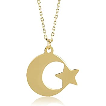 14K Yellow Gold Moon And Stars Charm Pendant MSRP $91