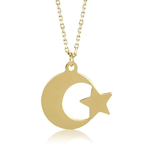 GELIN 14k Yellow Gold Turkish Ayyildiz Moon Star Pendant Chain Necklace for Women, 18