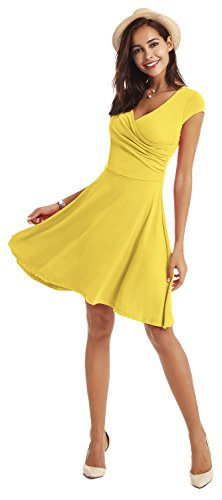 Women Casual Sleeve A for Dress V Yellow Line Neck Dresses Swing Cap xwwav4nX0q
