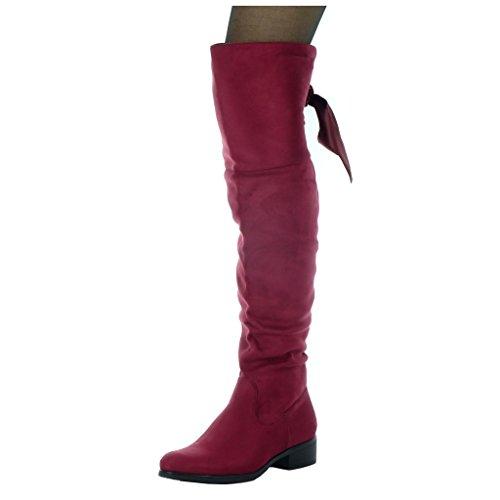 Angkorly - damen Schuhe Oberschenkel-Boot - Reitstiefel - Kavalier - Flexible - Schnürsenkel aus Satin Blockabsatz high heel 3.5 CM Burgunderrot