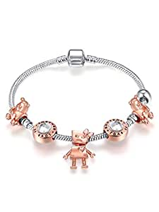 925 Silver Plated Snake Chain Pink Beads Sweet Girl Pendant Charm Bracelet for Women Girls Jewelry Gift 18cm
