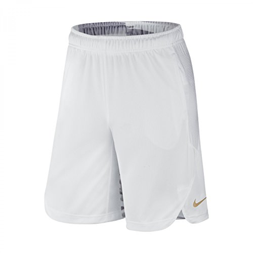 Nike Boys' KD Elite Graphic Basketball Shorts (Small, White/White/Metallic Gold)