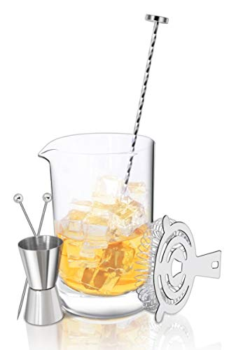 Crystal Cocktail Mixing Glass Bar Set: 700ml Thick Wall Lead-Free Mixing Glass | Stainless Spiral Bar Spoon w/Muddler | Cocktail Strainer | 0.5oz / 1oz Jigger. Great Gift & Shaker Alternative!