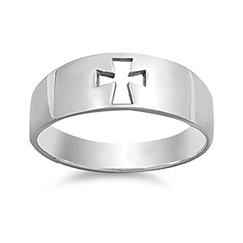 Sterling Silver Plain Cut Out Cross Ring 7mm (Size 4 to 13) Size 4 ()