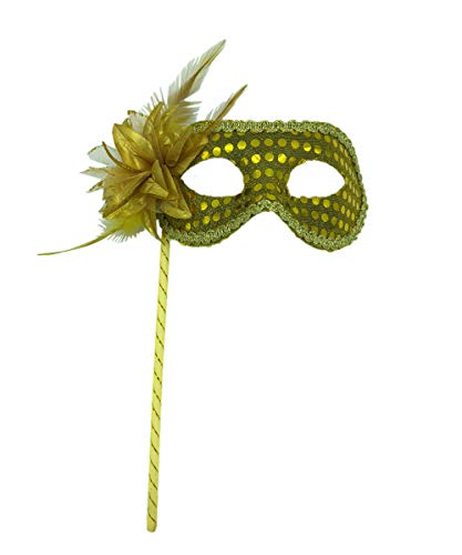 Rehoty Masquerade Mask on Stick Feather Flower Masquerade Mask for Women with Stick (Yellow)