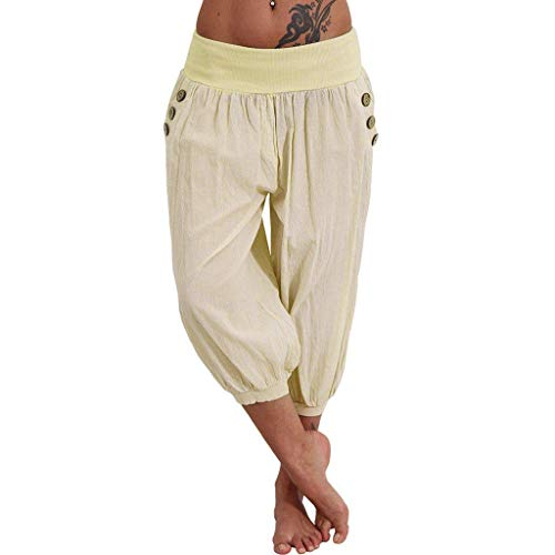 Pervobs Women Pants, Women Casual Elastic Waist Boho Pants Harem Check Baggy Wide Leg Sports Yoga Capris(M, Beige)