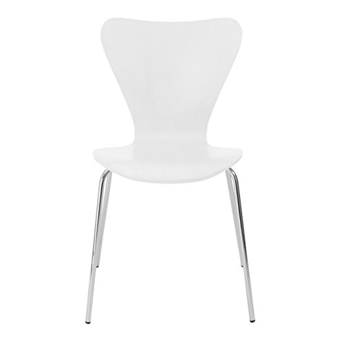 Eurø Style Tendy Wood Stackable Side Dining Chair with Chromed Steel Base, Set of 4, White Finish