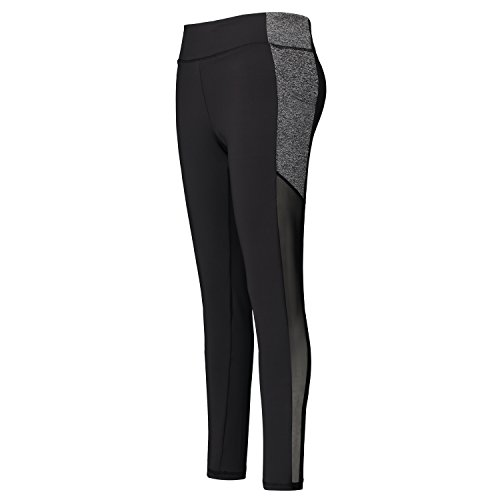 Helzkor Women's Workout Leggings Color Contrast Tights Full Length with Mesh Panels and Side Pockets - Black, L