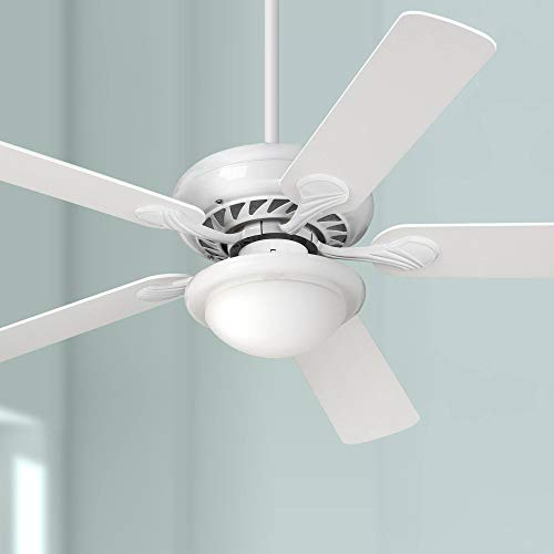 52 Tempra Modern Ceiling Fan with Light LED Dimmable White Opal Glass for Living Room Kitchen Bedroom Family Dining – Casa Vieja