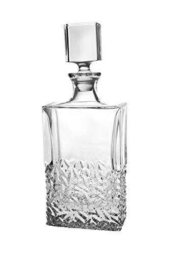 Whiskey Decanter For Whskey, Liquor, Scotch, Vodka, Bourbon - Crystal Decanter - with Stopper - Raindrop Design - 25 Oz. - Rectangular Shape - 12