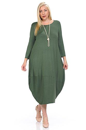 Pastel Cute (Pastel by Vivienne Women's Cocoon Midi Dress Plus Size XXX-Large Olive)