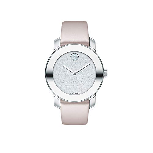 Movado Women's BOLD Iconic Metal Stainless Steel Watch with Glitter Dial, Silver/Pink (3600522) ()