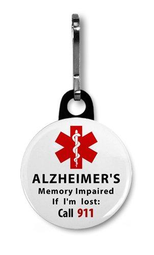ALZHEIMER'S Memory Impaired Call 911 Alert 1 inch Black Zipper Pull Charm